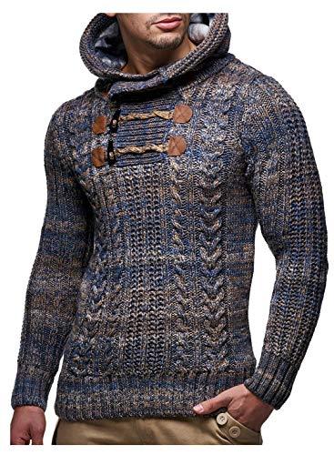 Leif Nelson 6004 Herentrui met capuchon, slim fit, lange mouwen, gebreide trui voor heren, sweatshirt, winterpullover, capuchontrui, lange mouwen, bruin, 3X/XL
