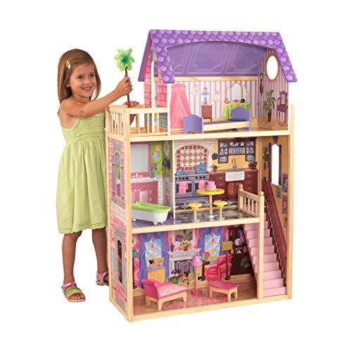 KidKraft 65092 Kayla, houten poppenhuis inclusief meubilair en accessoires, 3 verdiepingen hoge speelset voor poppen van 30 cm/12 inch