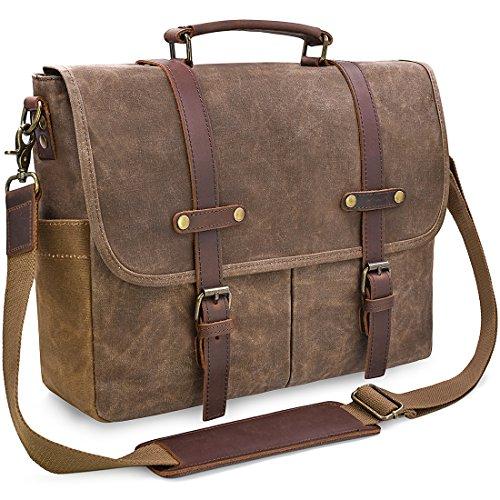 NEWHEY Heren schoudertassen aktetas laptoptas waterdicht canvas grote werktas messenger bag mannen vintage 15,6 bruin