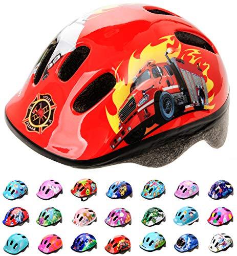 meteor® fietshelm kinderhelm MTB scooter helm helmet voor downhill scheidingshelm mountainbike inliner skatehelm BMX fietshelm jongens meisjes Fahrradhelmet bike (Fire Engine, XS 44-48 cm)