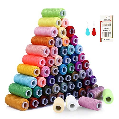 Soledi Naaigaren, set van 60 verschillende kleuren en 16 naalden, hoogwaardig naaigaren van polyester, naaigaren