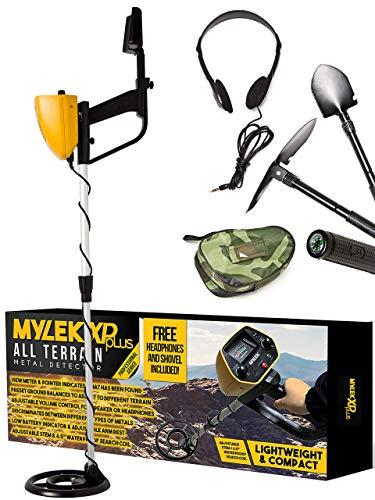 MYLEK MYMD1062 Metaaldetector waterdicht, compleet met tas, koptelefoon, schop & pick/kompas gereedschapskit voor kinderen en volwassenen, geel en zwart