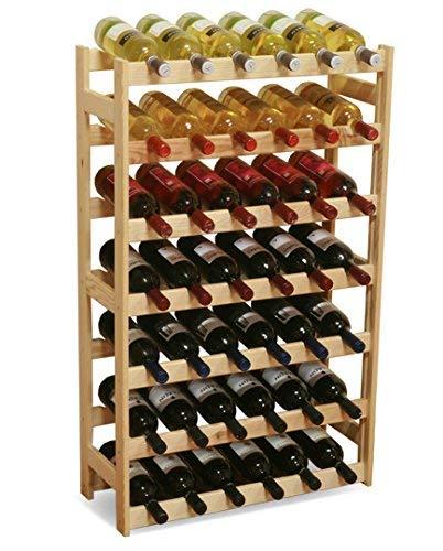 Modo24 Wijnrek, hout, onbehandeld, 63 x 25 x 102 cm, 17 stuks