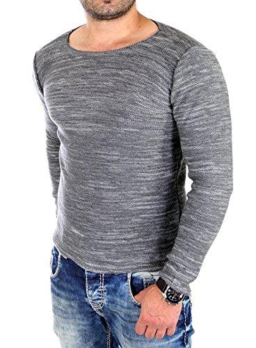 Reslad Gebreide trui voor heren, ronde hals, gemêleerde look, fijngebreide trui, RS-3125