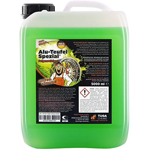 TUGA Chemie Alu-Teufel speciale velgenreiniger, actieve gel voor glanzende aluminium velgen dankzij zuurvrije vuilverwijdering, 1 l en 5 l, Made in Germany
