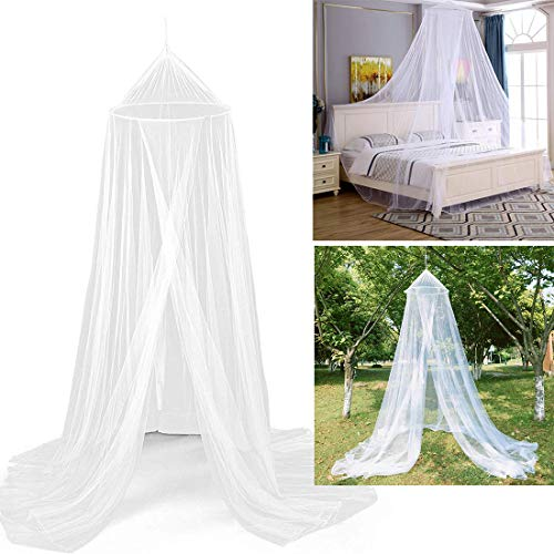 Klamboe bed, wit muggennet voor reizen en thuis, grote muggenbescherming, tweepersoonsbed, eenpersoonsbed incl. montagemateriaal, fijnmazig mesh, bedhemel, vliegennet, reizen, insectennet, baldakijn