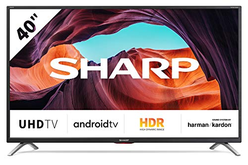 SHARP Android TV 40BL5EA, 101 cm (40 inch) televisie, 4K Ultra HD LED, Google Assistant, Amazon Video, Harman/Kardon geluidssysteem, HDR10, HLG, Bluetooth