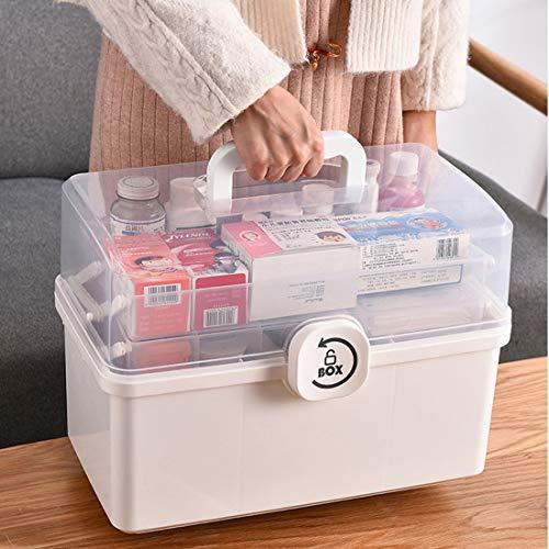 Dittzz Hausapotheke box, grote medicijndoos, 3 niveaus, EHBO-koffer, multifunctionele opbergdoos met draaggreep, 34 x 19 x 22,5 cm
