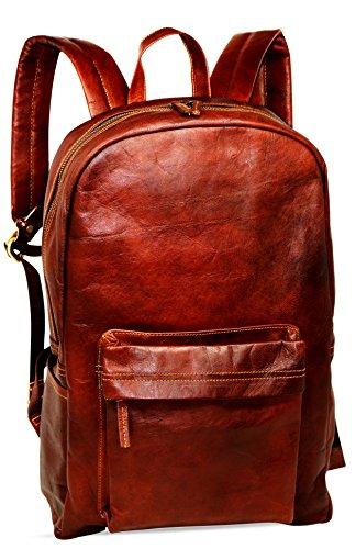 Jaald Leren rugzak, 45 cm, waterdicht, voor op reis, outdoor, wandelen, school, laptop, dames, heren, vintage, lederen rugzak