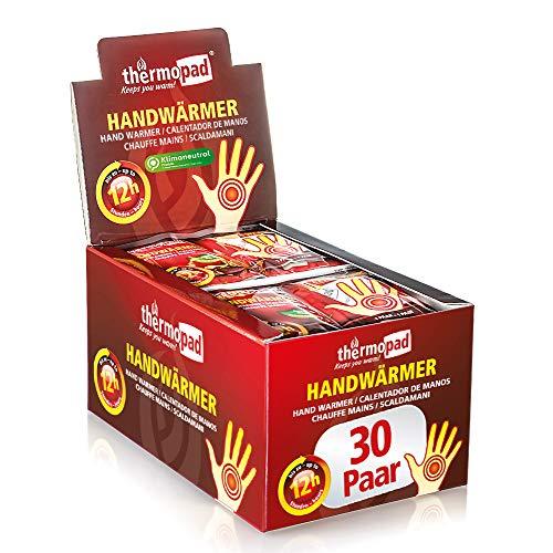 THERMOPAD Handwarmer, het origineel: 30 paar warmtepads voor 12 uur warmte, direct te gebruiken zakwarmers, extra warm heatpad, ideaal voor outdoor-activiteiten en handschoenen, handverwarmingskussen