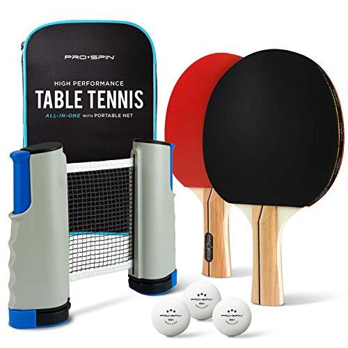 PRO SPIN Draagbare Tafeltennis Set | All-in-One Kit met Verplaatsbaar Tafeltennisnet voor Elke Tafel, Tafeltennis Batjes, Ping Pong Ballen & Opbergkoffer | Voor Binnenspel en Pingpong Outdoor