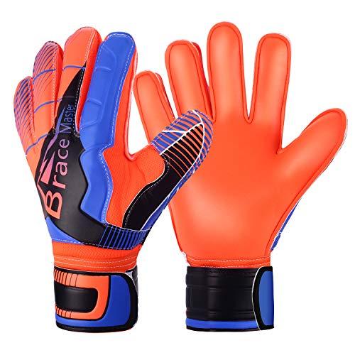Brace Master Keepershandschoenen met Uitstekende Vinger- en Grip Bescherming, 3 + 3 mm Voetbaldoelmanhandschoen Voor Heren en Dames, Training en Wedstrijd (8, Blue-orange)