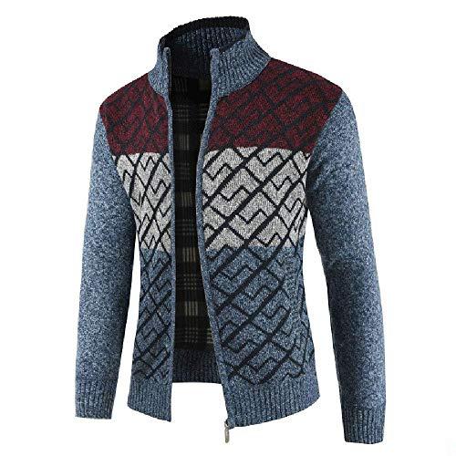 BOLAWOO Mode Mens Vest Herfst Jas Winter Mannen Winter Effen Mode Merken Rits Kraag Jas Gebreide Trui Rits Lange Mouw Uitloper Jas