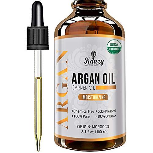 Kanzy Arganolie Biologische 100% Pure Koudgeperste Argan oil Morocco Veganistische Behandeling voor Droog Haar, Huid, Lichaam en Gezicht 100ml