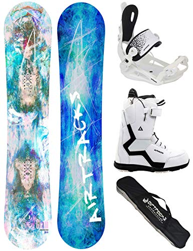AIRTRACKS WOMAN SNOWBOARD SET/GLAM LADY SNOWBOARD FLAT ROCKER + BINDING MASTER FASTEC W + BOOTS + SB BAG / 144 147 150 153 / cm