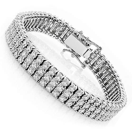 9.54 Ct Ronde Diamanten Prong Set Heren Tennis Armband Over 14k Wit Goud verguld 925 Zilver