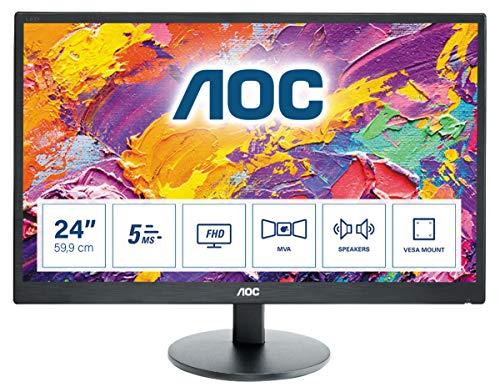 AOC M2470SWH 59,9 cm (23,6 inch) MVA-monitor (VGA, HDMI, 5 ms reactietijd, 1920 x 1080, 60 Hz) zwart