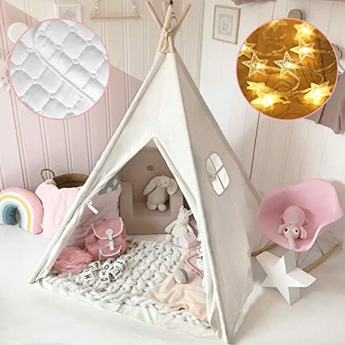 Tiny Land Tipi speeltent voor kinderen met gevoerde deken & lichtketting & opbergtas katoen canvas kindertent (wit 165 cm hoog) speelhuis kinderen