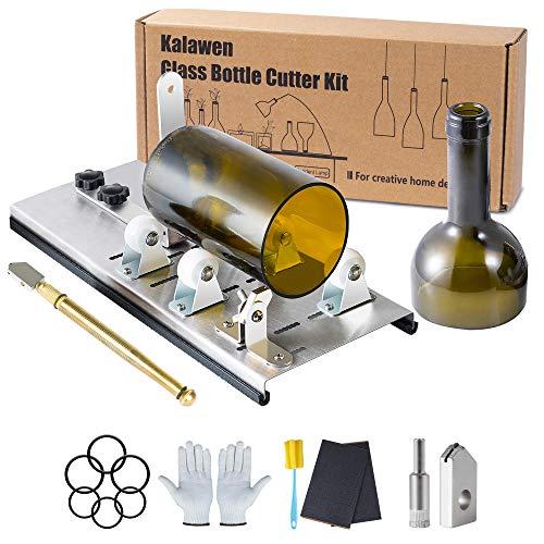 Kalawen Glassnijder voor flessen, roestvrij staal, 5 verstelbare wielen, glassnijder, bottle cutter kit voor doe-het-zelf flessen, plantenmachines, kroonluchter van glas kandelaar