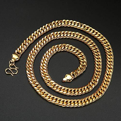 Halsketting met 18 karaats goud vergulde mode, dikke dominante halsketting, met Faux vergulde roestvrij stalen sieraden voor mannen.