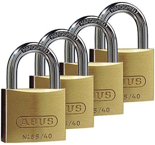 ABUS Hangslot messing 65/40 - set van 4, gelijksluitend - kelderslot, spinslot en nog veel meer - messing-slotbehuizing - geharde stalen beugel - ABUS veiligheidsniveau 5