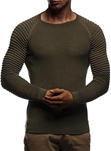 Leif Nelson LN20729 Gebreide trui met ronde hals en lange mouwen, fijn gebreid, Khaki (stad), M