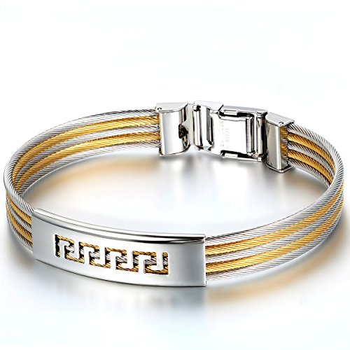JewelryWe sieraden mannen armband, klassieke Griekse draad armband, roestvrij staal, goud zilver