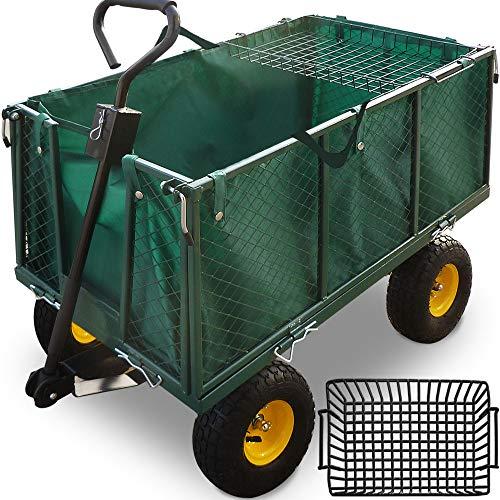 Bolderkar met binnenzeil - belastbaar tot 550 kg - groen - tuinkar - bolderwagen