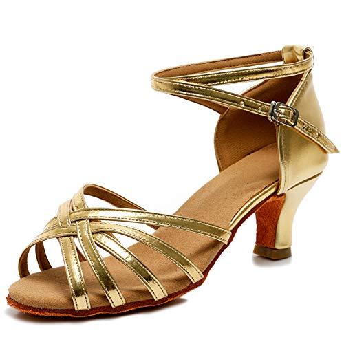 VASHCAME - Dames Ballroom/Latijns/Standaard Dansschoenen Sandalen, Gouden hak 5cm, 37 EU