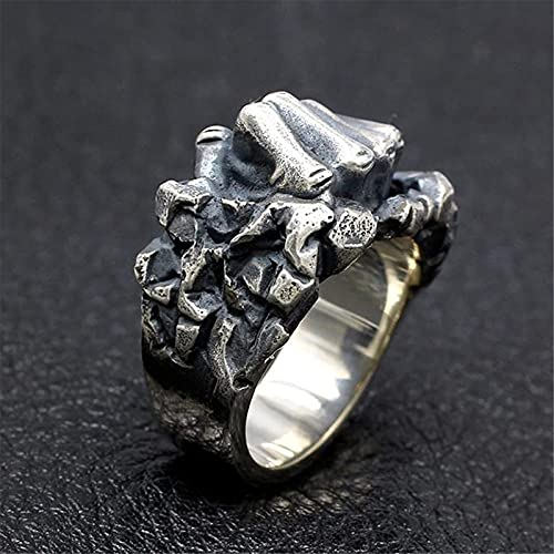 Heren 925 sterling zilveren vuist ring, retro solide zware gepersonaliseerde boksschool sportliefhebber sieraden cadeau,12