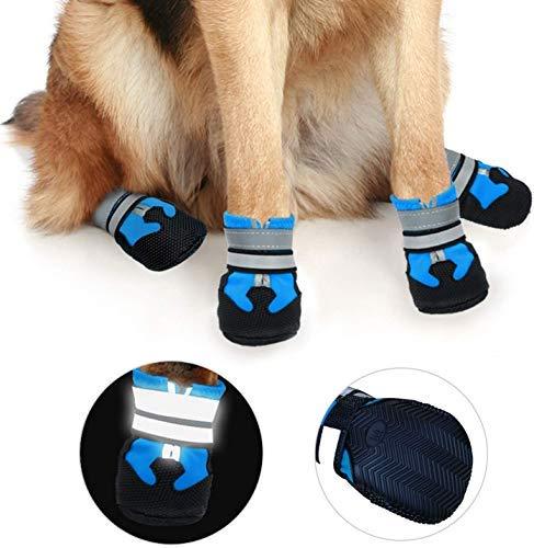 iPobie Antislip hondenschoenen, waterdichte pootbescherming, schoenen voor honden, 4 stuks (S maat)