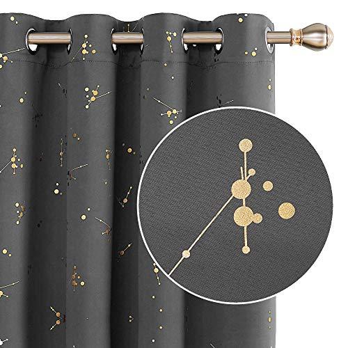 Deconovo Verduisterende Gordijnen met Ringen, 140x183 cm (B x H), Lichtgrijs, set van 2, Bedrukte Gordijnen met Goud Bladeren voor Slaapkamer, Woonkamer