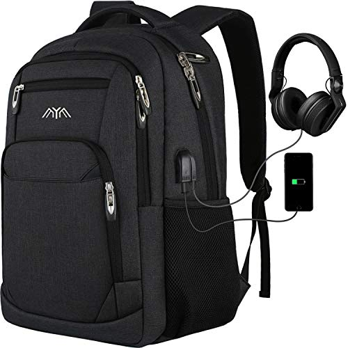 Schoolrugzak jongens meisjes tiener, rugzak school laptop rugzak f¨¹r heren dames daypacks business rugzak met USB, grijs (houtskool), 17,3 Zoll, rugzak
