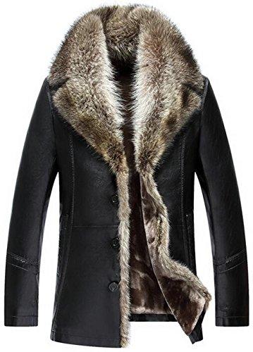 moxishop Heren top luxe zachte wasbeer bont kraag faux leder mantel verdikt warme winter bovenkleding lange parka, D1090 zwart, DE XS = Label M