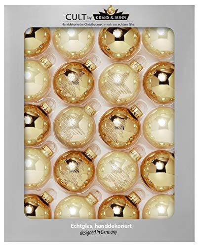 Krebs & Sohn 20-delige set glas kerstballen kerstboom decoratie om op te hangen kerstballen 5,7 cm, goud/ivoor, (5, 7 cm Ø diameter)