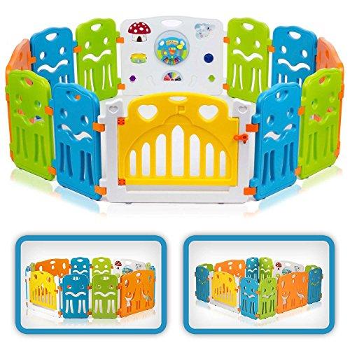 Baby Vivo Baby Box Tweelingbox Kruipbox Krabbelpark Speelbox Veiligheidshek Playpen Baby Kunststof - Colors XL Uitbreidbaar