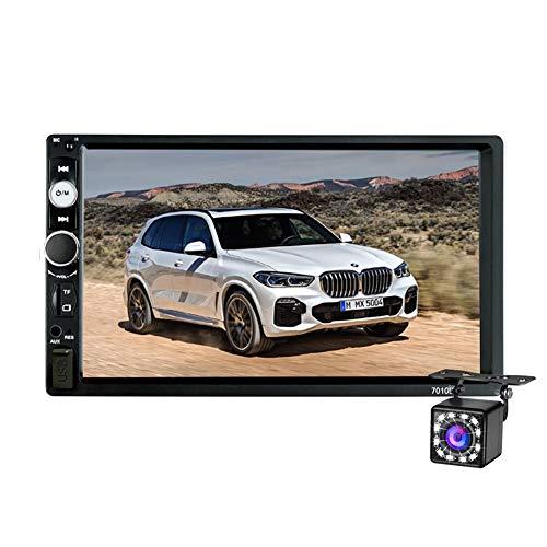 Dubbele Din Autoradio Bluetooth,7 inch Touchscreen Auto-Multimedia MP5 Speler Ondersteuning SD /USB / AUX,Car Audio met FM-Radio,Spiegel Link,Stuurwiel Afstandsbediening,Achteruitkijkcamera