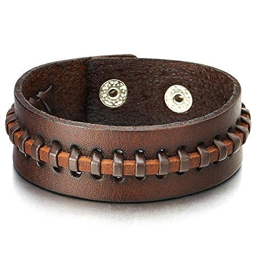 Coolsteelandbeyond Leren Armband voor Dames Heren en Heren, Gevlochten Echt Leer, met Drukknopen