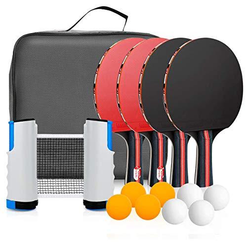 Powcan pingpongset Draagbaar tafeltennisset Pingpongspel Pingpongracketset voor tafeltennistraining met 4 tafeltennisbatjes / -rackets / -peddels, 8 tafeltennisballen, 1 intrekbaar tafeltennisnet