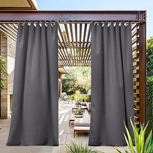 PONY DANCE Outdoor gordijn ondoorzichtig gordijn met lussen - gordijnen tuin/balkon licht blokkeren gordijn warmte-isolerende gordijnen waterafstotend, 1 stuk H 213 x B 132 cm, grijs