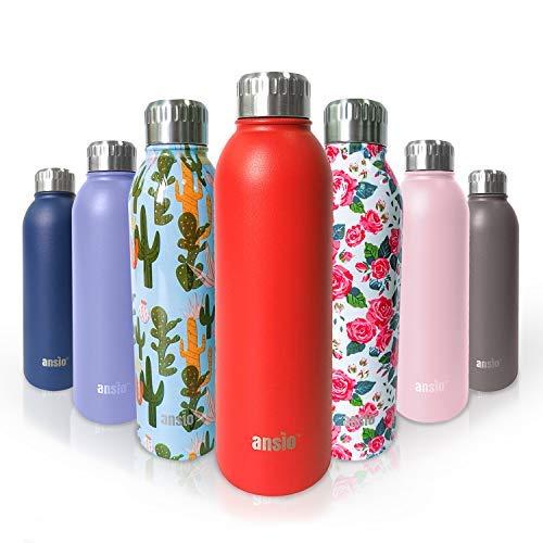 ANSIO waterfles, vacuüm fles & roestvrij staal waterfles dubbele ommuurde geïsoleerde dranken fles warm & koud BPA gratis outdoor sport camping wandelen fietsen - 500ML- levenslange garantie Rood