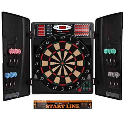 Ultrasport elektrisch dartboard, met of zonder deurtjes, elektronisch dartboard voor maximaal 16 spelers, inclusief werplijn, 12 dartpijlen en 100 softtips, geschikt voor feestjes en spelavonden