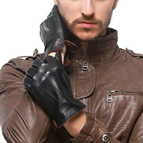 Nappaglo Heren Echte Touchscreen Nappa Lederen Handschoenen Rijden Winter Warme Wanten