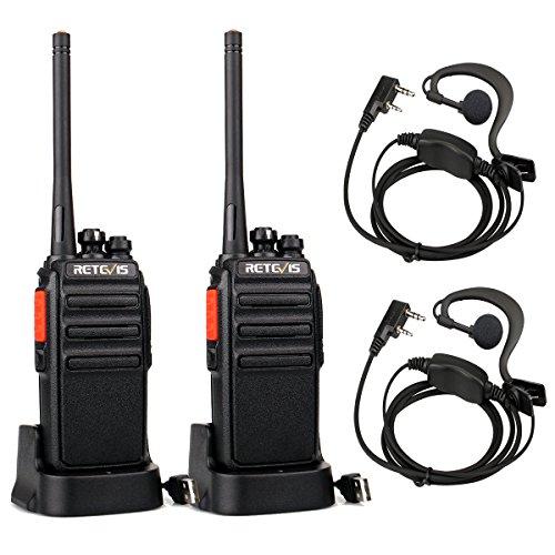 Retevis RT24 Portofoons PMR446 Vergunningsvrije 16 Kanalen Walkie Talkie met Headset CTCSS/DCS VOX Oplaadbare Walkietalkie Set met USB-laadstation en 1100 mAh Lithium-ionbatterij (1 Paar, Zwart)