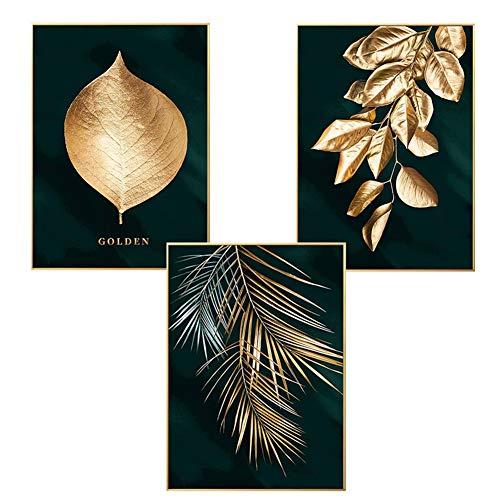 Martin Kench Set van 3 designposters muurschilderingen, bos gouden bladeren palmblad, zonder lijst, wandafbeelding print afbeeldingen kunstposter decoratie voor woonkamer (stijl A, 30 x 40 cm)