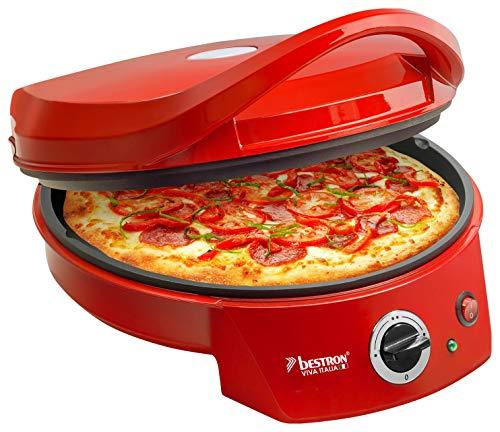 Bestron APZ400 elektrische pizzaoven, grill met boven- en onderwarmte, pizzagrill tot max.180 ° C, 1800W, rood, 37,5x31x16