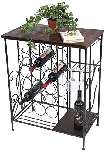 DanDiBo Wijnrek met plank 12977 flessenrek met glazen houder 83 cm bruin metaal hout flessenhouder wijnkast rek staand