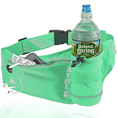 Athle Running Fanny Pack with Water Bottle Holder - Adjustable Run Belt Storage Pouch with Zipper Pocket for Sports and Travel – 360° Reflective Band – Fits iPhone Plus, Galaxy Note - Mint Green