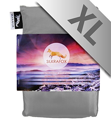 Silkrafox XL - extra grote, ultralichte slaapzak, huttenslaapzak, tijk, zomerslaapzak, kunstzijden slaapzak, grijs