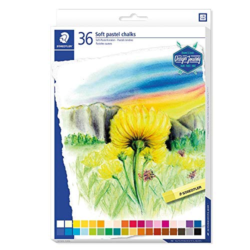STAEDTLER 2430 C12 ST 2430 C36 zacht pastelkrijt (hoge mate van lichtbestendigheid, zachte uitslag, gemakkelijk afveegbaar, kartonnen etui met 36 briljante kleuren)
